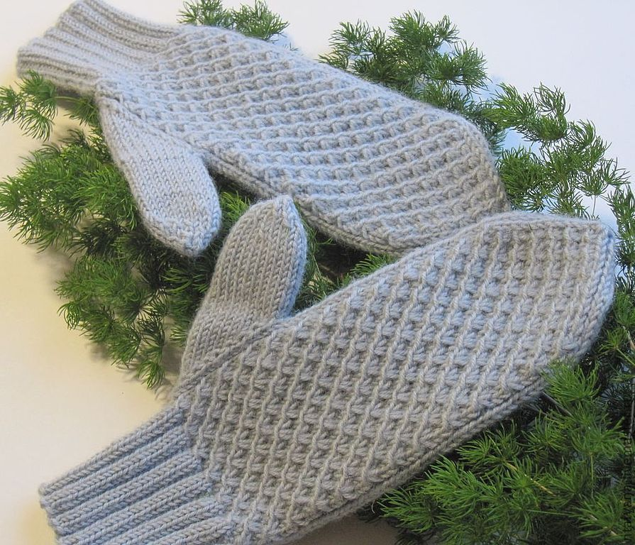 Вязание варежек жемчужной вязкой