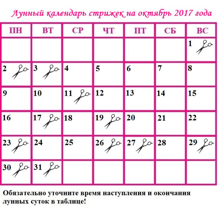 стрижка по лунному календарю октябрь 2017