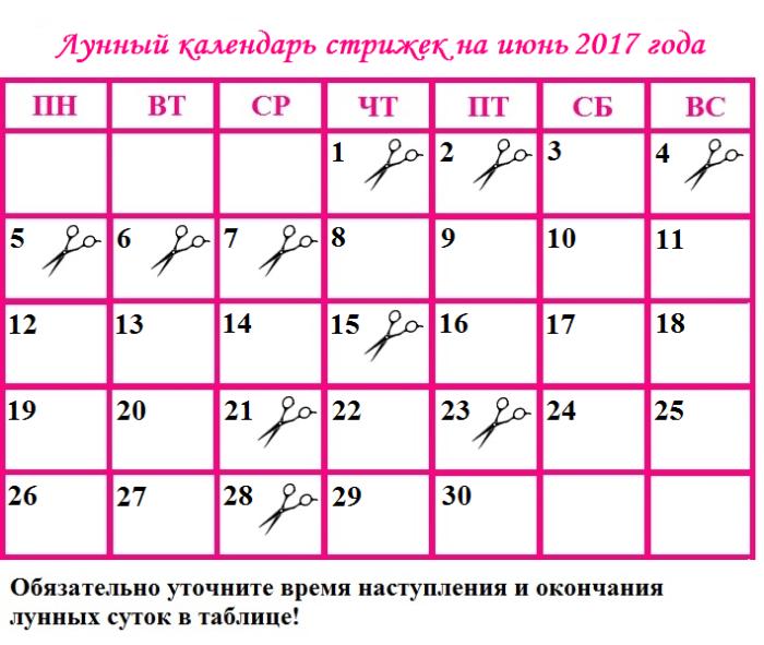 лунный календарь стрижки волос на июнь
