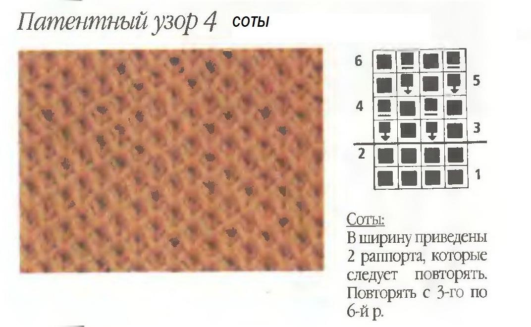 Узор мелкие соты спицами схемы и описание