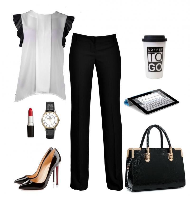 Белая Блузка И Черные Брюки