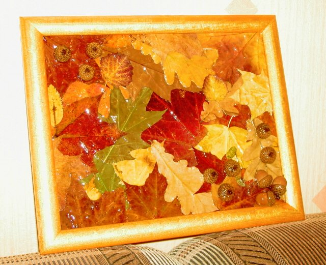 Осенние поделки своими руками картины из листьев 61