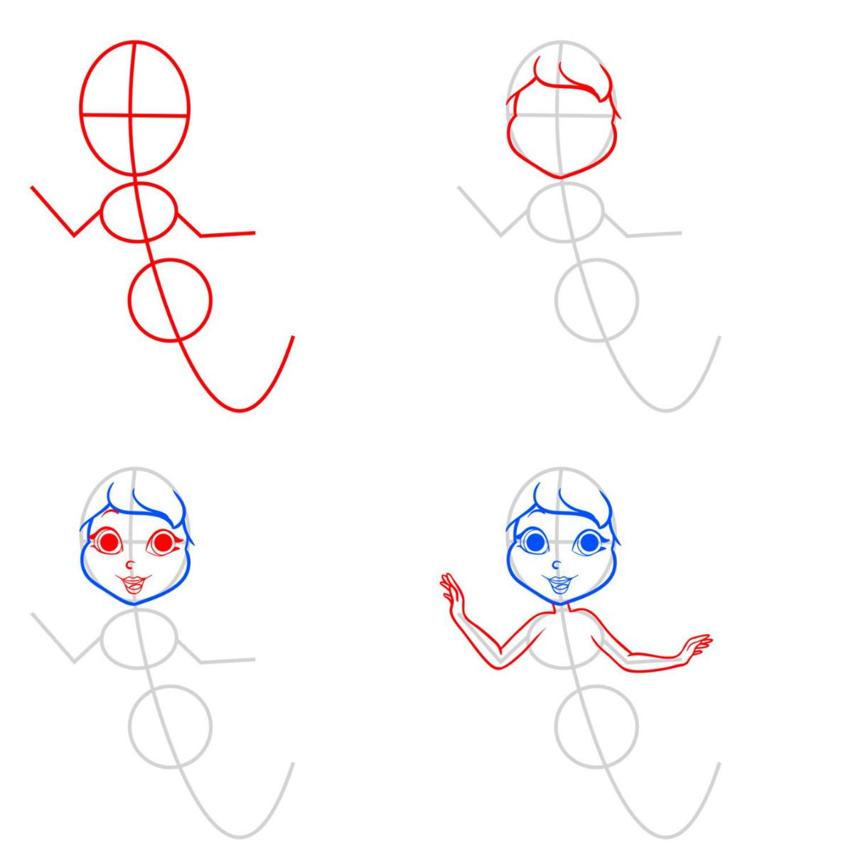 Как нарисовать поэтапно русалку для начинающих