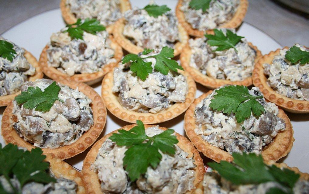 Салат в тарталетках рецепт с грибами