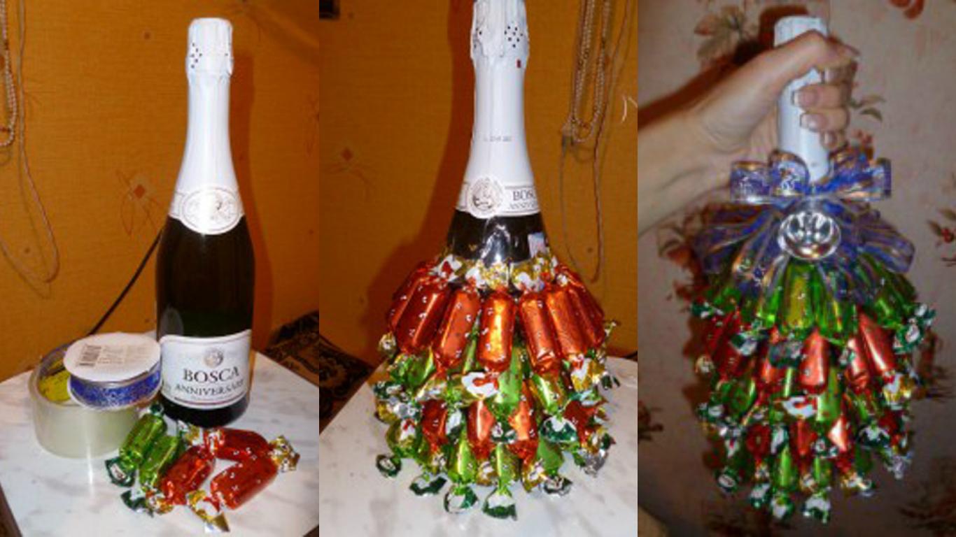 Украшаем шампанское на подарок 39