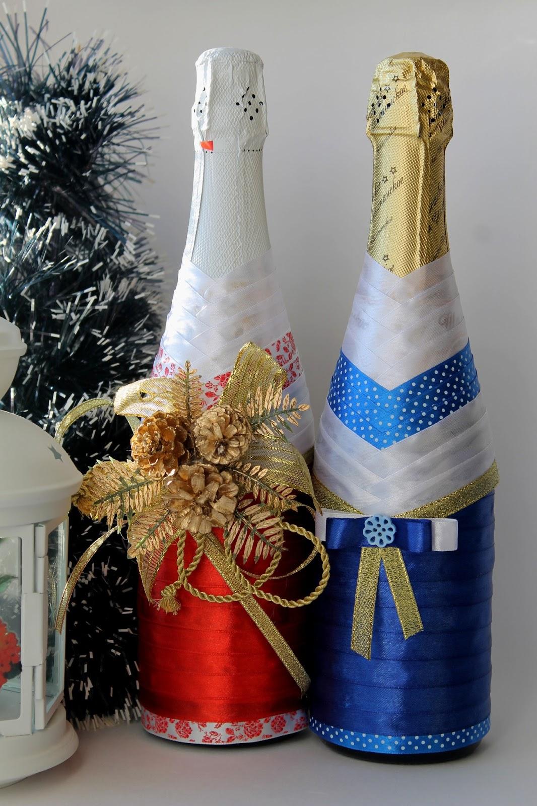Как сделать украшение на новый год на бутылку