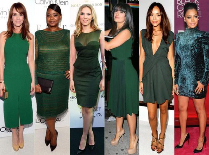 Темное зеленое платье с чем носить