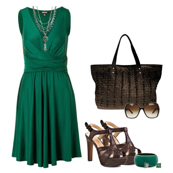 Зеленое платье с чем сочетается фото