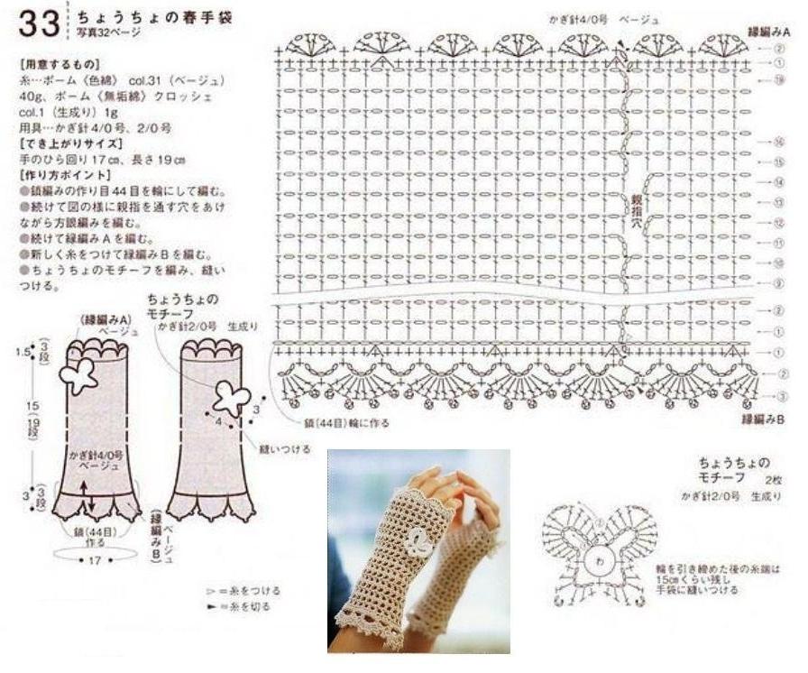Вязание крючком перчатки схемы с подробным описанием 65