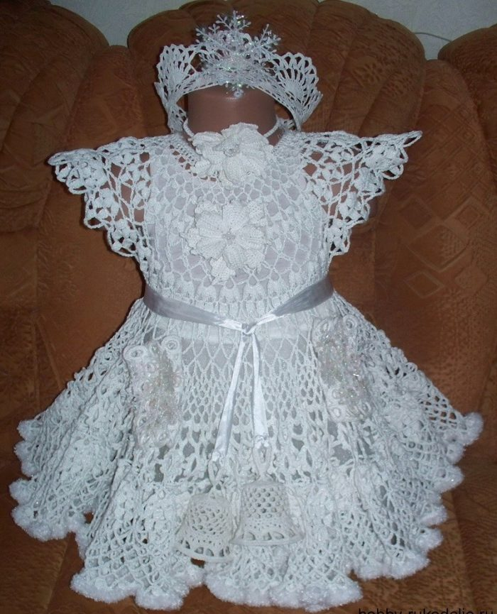 Платье крючком для малышки схема и описание