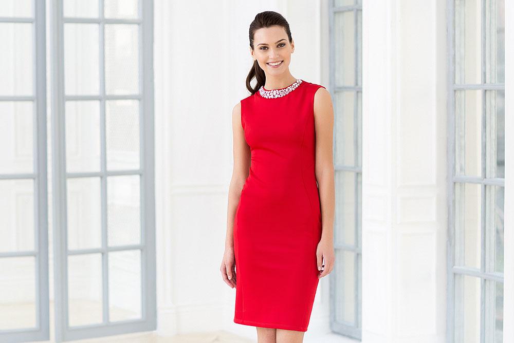 Бежевое платье ламода