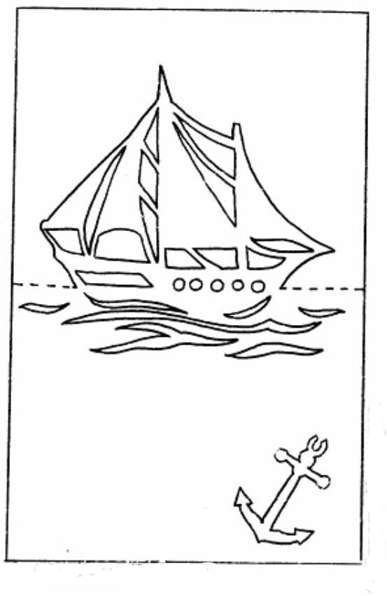 Макет кораблика для открытки 4