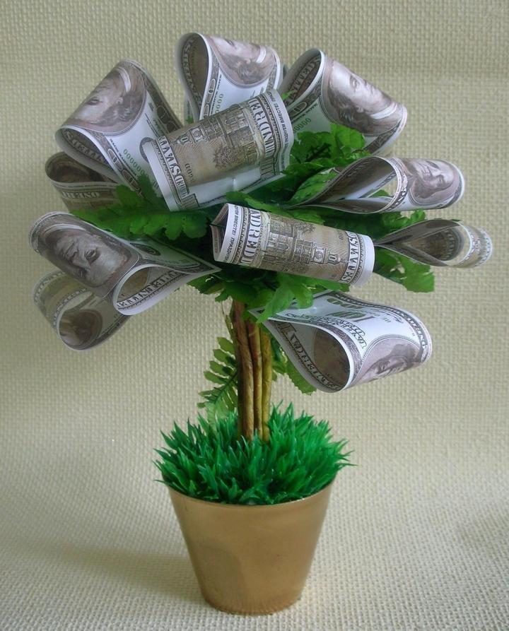 Мастер класс дерево из бумажных денег