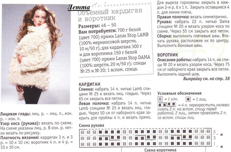 Схемы вязания кардиганов из толстой пряжи 24