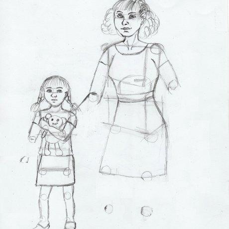 Как нарисовать папу и дочку поэтапно