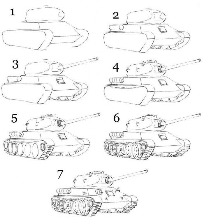 Как нарисовать танк т-34 поэтапно карандашом
