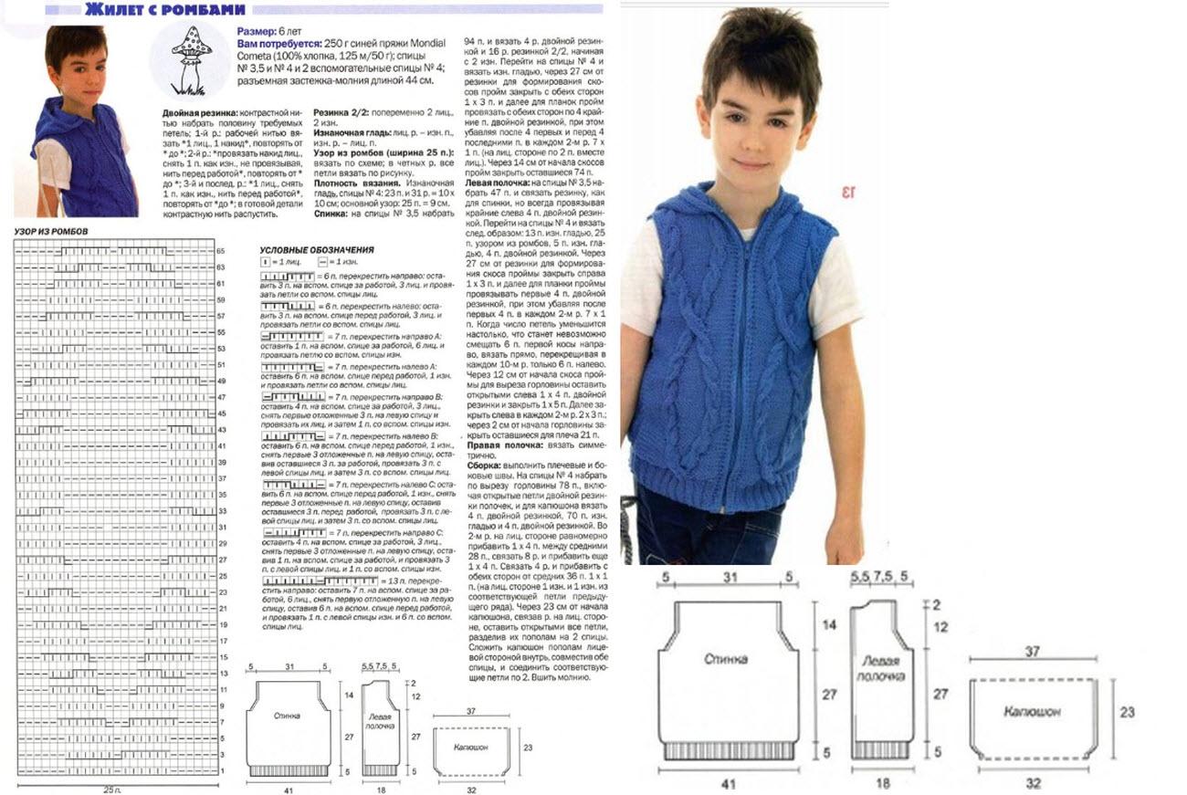 Вязание жилетки для мальчика спицами