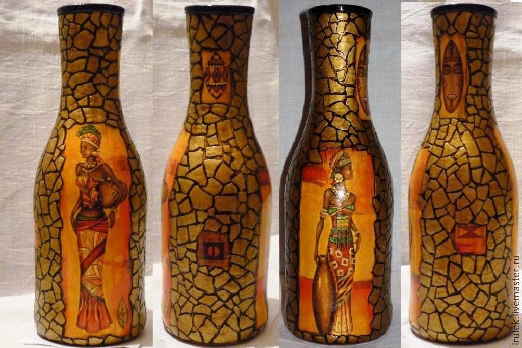 Декупаж из бутылки сделать вазу своими руками 83
