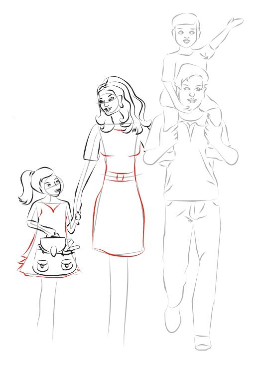 Нарисовать папу и дочку поэтапно