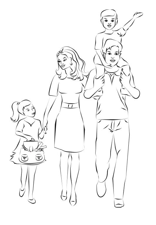 Рисунок на тему семья поэтапно