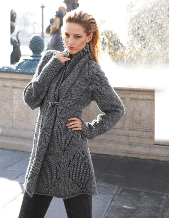 Связать пальто спицами со схемами 5