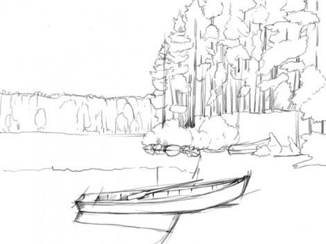 карандашом природа лето рисунок