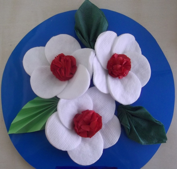Цветы из ватных дисков пошаговое