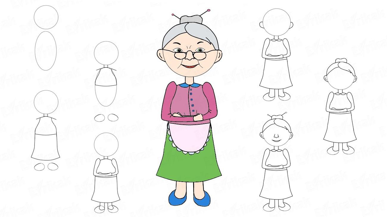 Как нарисовать бабушки лёгкий рисунок