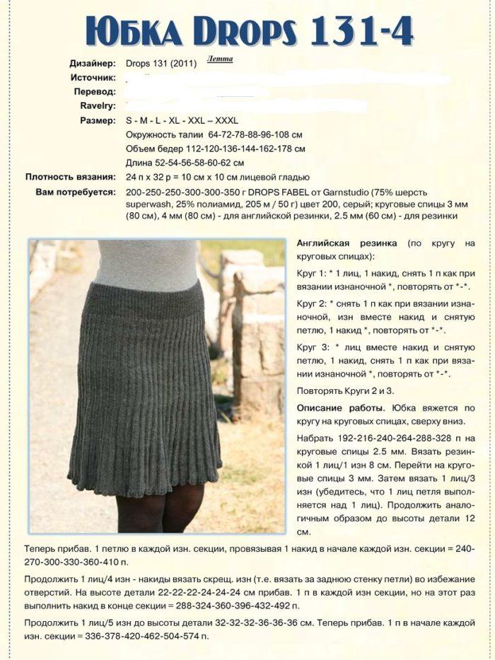 Вязание женских юбок спицами в складку