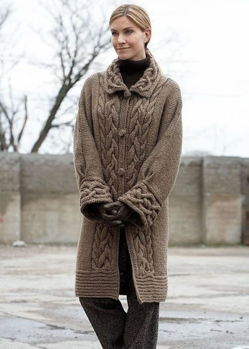 Вязанные пальто 2015 спицами фото