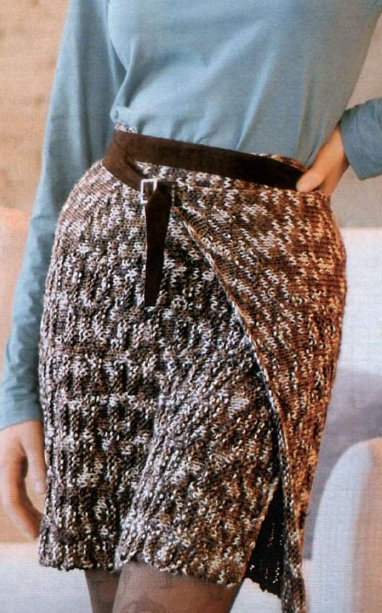 Юбка клин вязание