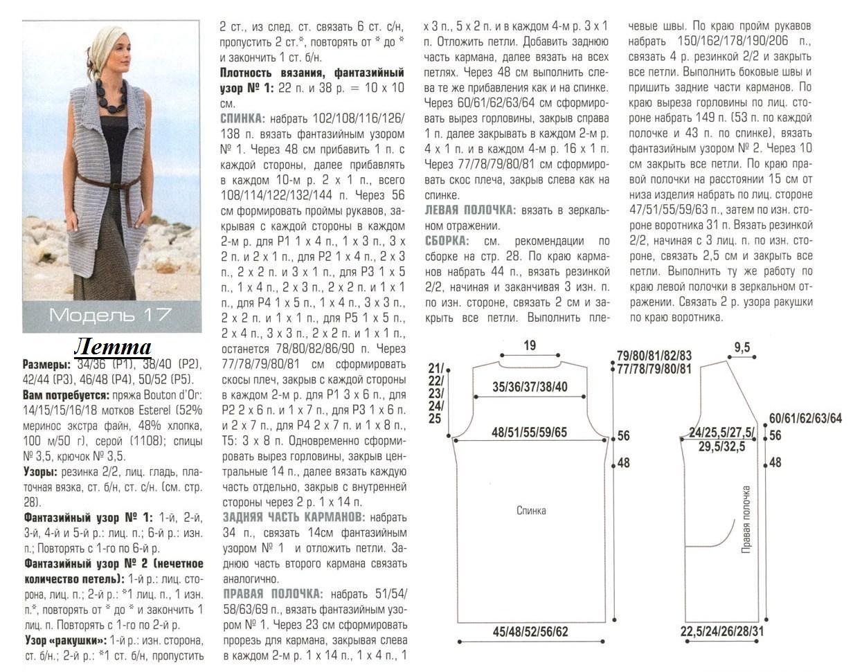 Вязание длинной безрукавки спицами для женщин с описанием 55
