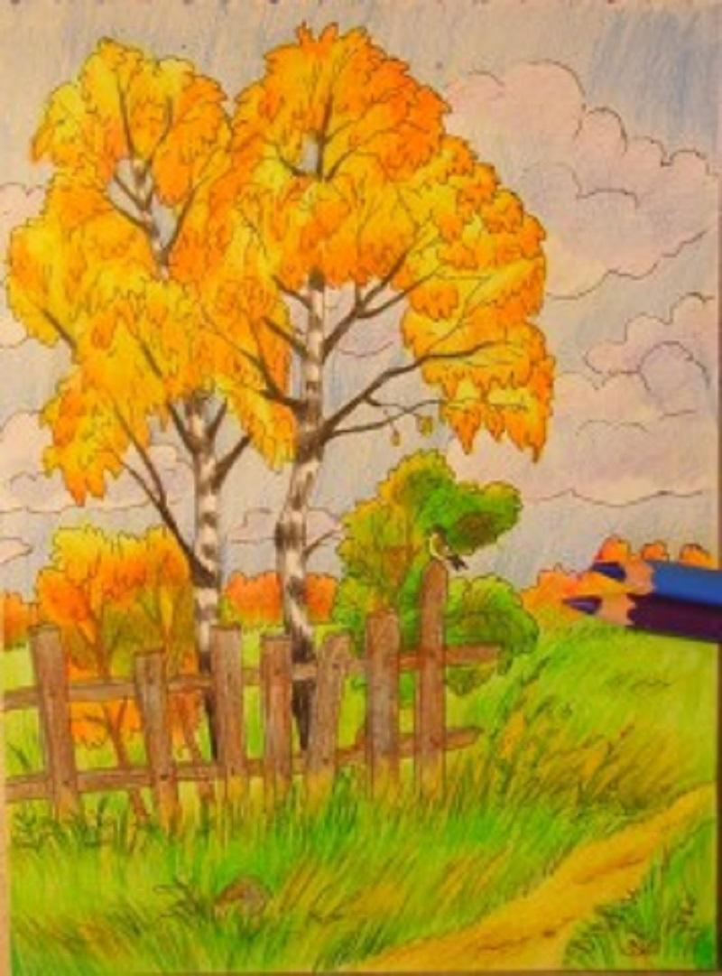 Осенний пейзаж рисунки карандашами