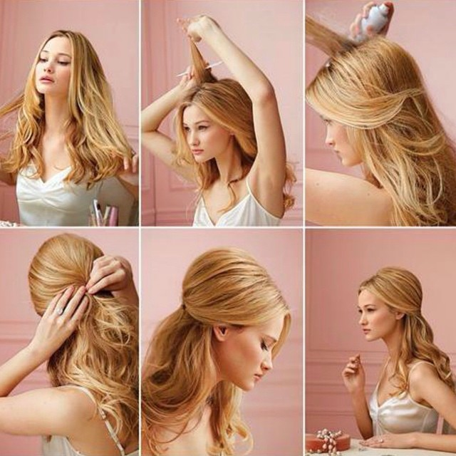Как сделать объёмную причёску на средние волосы 897