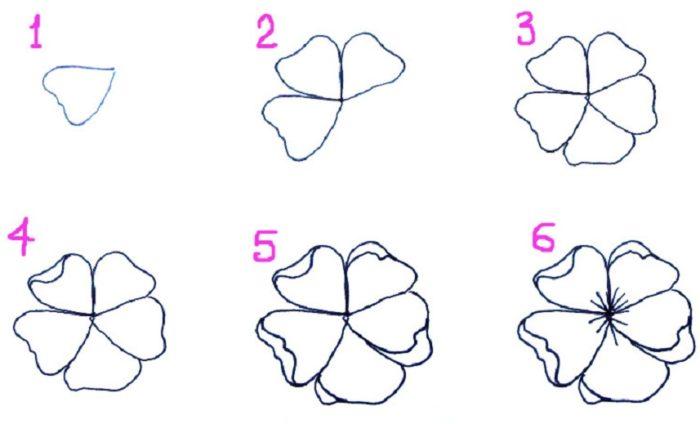 Цветы легкие рисовать