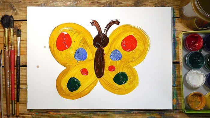 Рисунок гуашью бабочки