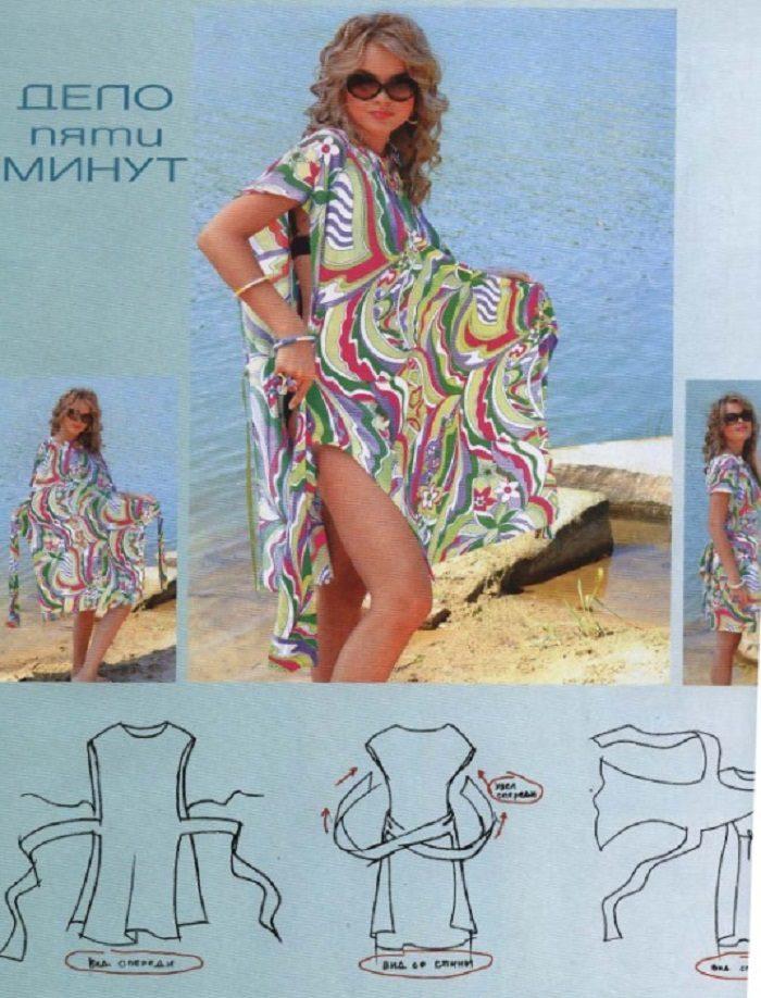 Платье пляжное быстро без выкройки