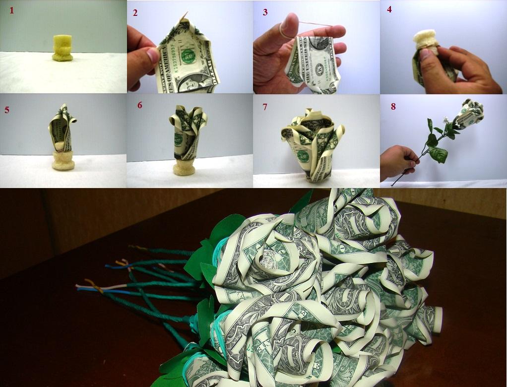 как сделать цветок из пяти купюр??