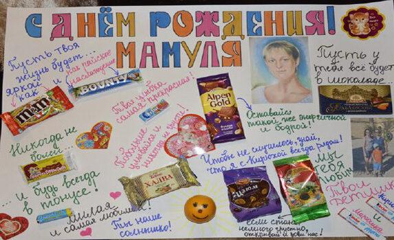 Плакат с днем рождения с конфетами маме на