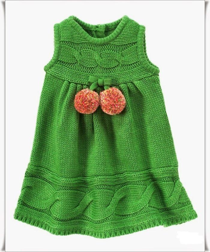 связанный спицами оригинальный сарафан для девочки 2-3 лет