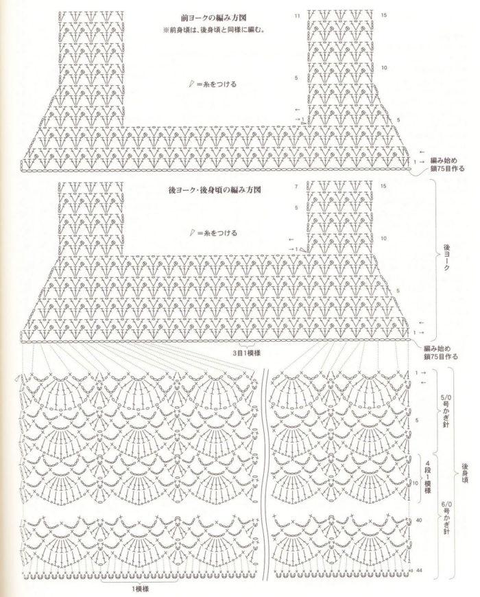подробная схема вязания ажурного сарафана крючком для девочки до 1 года, пример 1