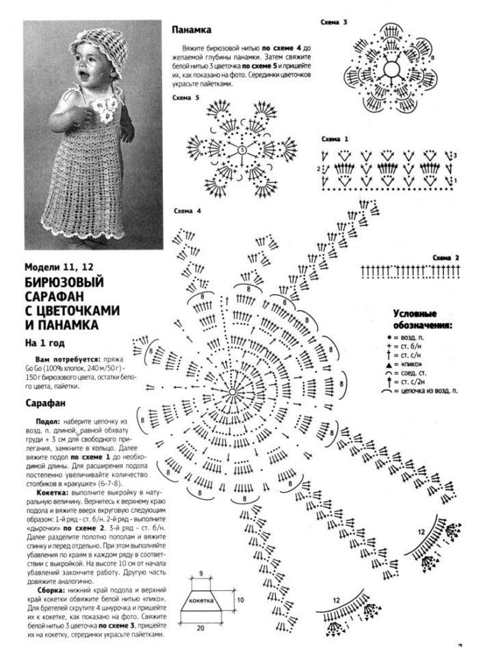 схема ажурного платья крючком для девочки