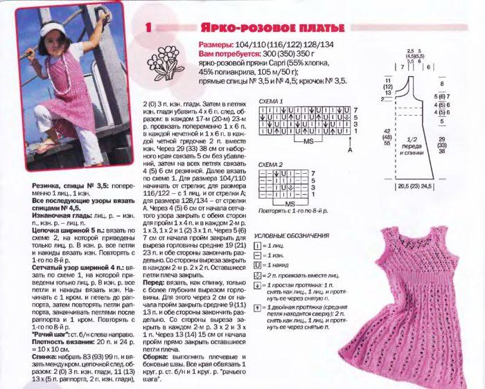 подробное описание и схемы узоров для вязания спицами ажурного сарафана девочке 4-5 лет, пример 2