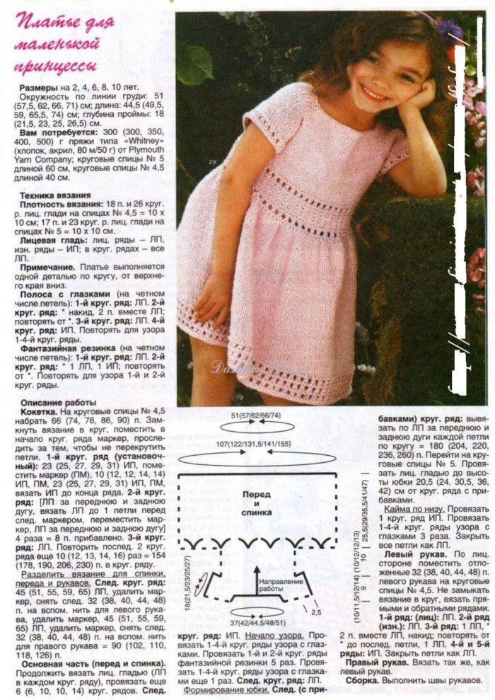схема и описание вязания спицами летнего сарафана для девочки 2-3 лет, пример 1