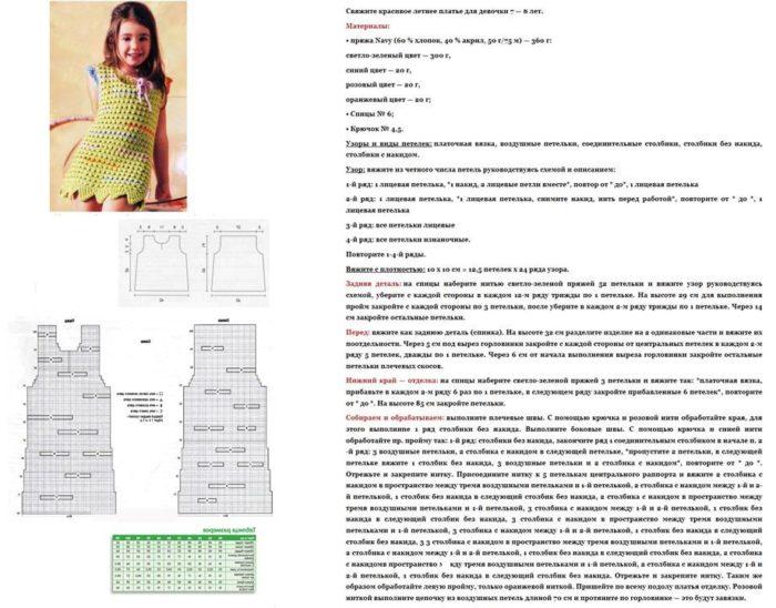 схема и описание вязаного сарафана крючком для девочки старше 5 лет, пример 2
