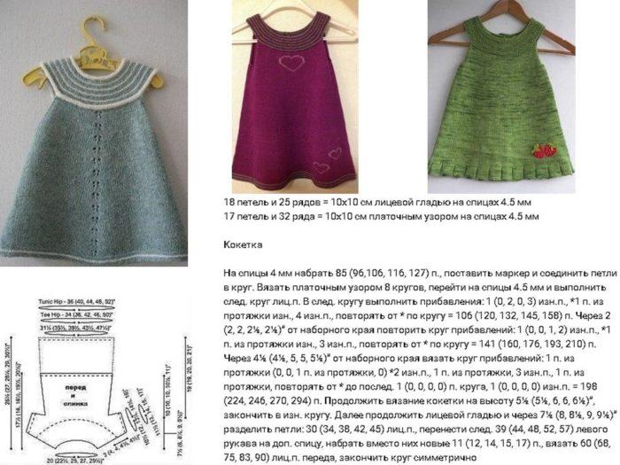 схема узора и подробное описание вязания летнего сарафана спицами для девочки до годика, пример 2
