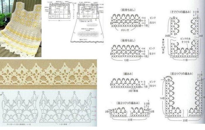 подробная схема вязания ажурного сарафана крючком для девочки до 1 года, пример 3
