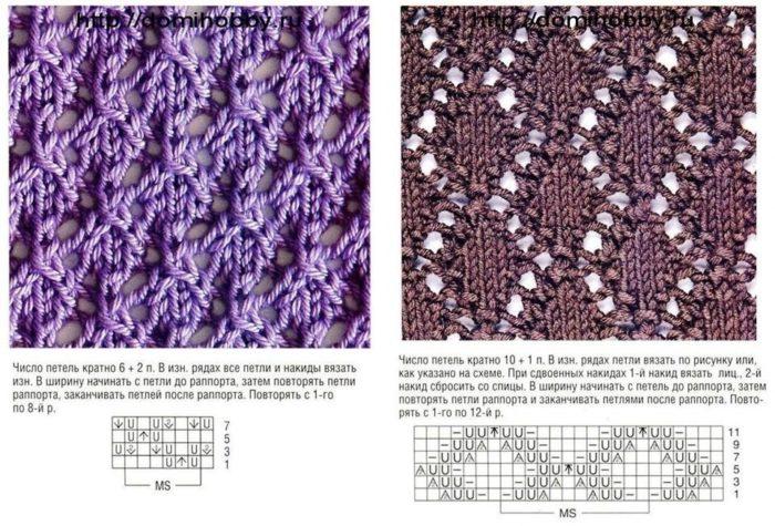 пара ажурных узоров спицами для вязания детского сарафана
