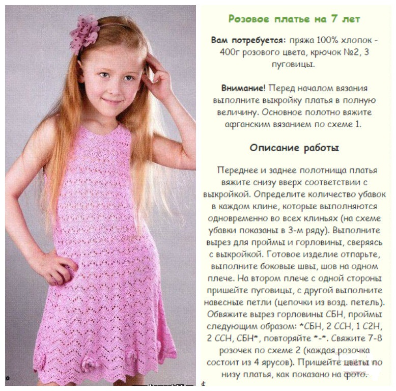 Вязание летних платьев для девочек