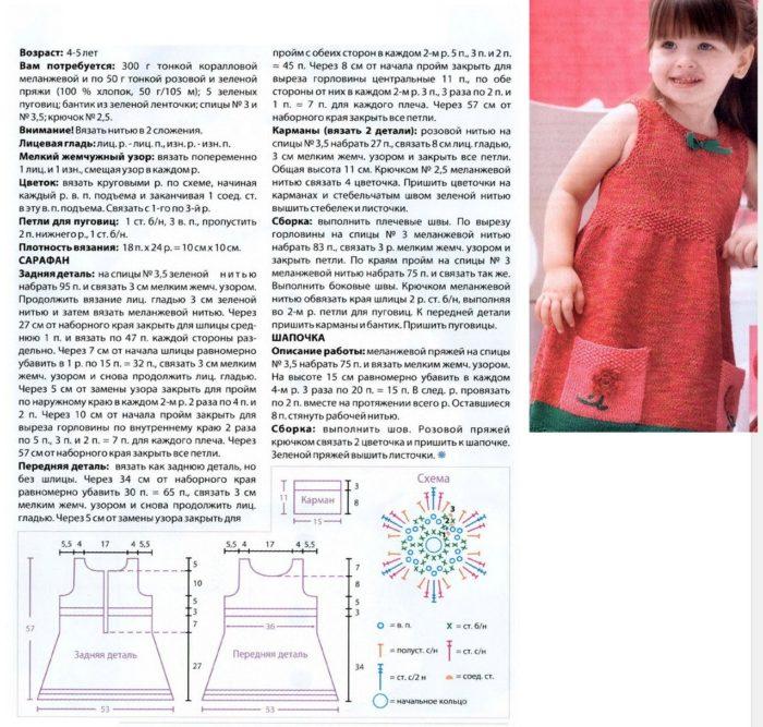 описание вязания спицами и крючком детского сарафана на девочку 2-3 лет, пример 1